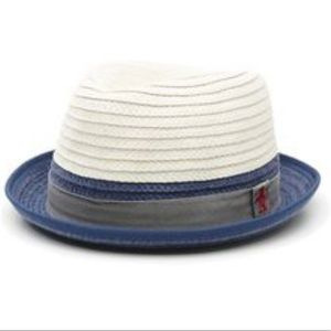 Penguin two-toned straw hat {navy/grey trim} - s/m